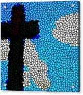 Cross Stained Glass Acrylic Print