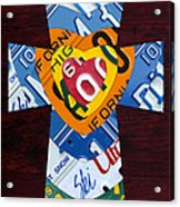 Cross With Heart Rustic License Plate Art On Dark Red Wood Acrylic Print