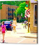 Crossing Notre Dame At Charlevoix To Dilallo Burger Montreal Summer City Scene Carole Spandau Acrylic Print
