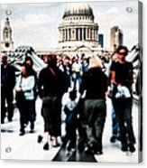 Crossing Over The Thames Acrylic Print by Mark E Tisdale