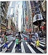 Crossing The City Street Acrylic Print