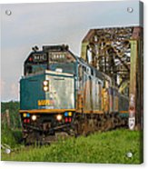 Via Train Crossing The Miramichi River Acrylic Print by Steve Boyko