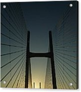 Crossing The Severn Bridge At Sunset - Cardiff - Wales Acrylic Print