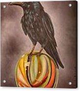 Crow On Marble Edit 3 Acrylic Print