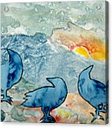 Crow Series 4 Acrylic Print by Helen Klebesadel