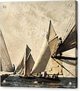 A Vintage Processed Image Of A Sail Race In Port Mahon Menorca - Crowded Sea Acrylic Print