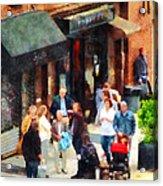 Crowded Sidewalk In New York Acrylic Print