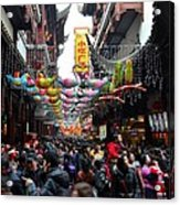 Crowds Throng Shanghai Chenghuang Miao Temple Over Lunar New Year China Acrylic Print