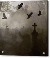 Crows On A Eerie Night Acrylic Print