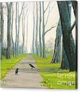 Crows On The Path Acrylic Print