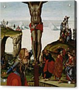 Crucifixion With Mary Magdalene Acrylic Print