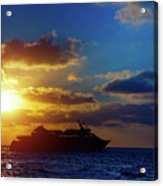 Cruise Liner At Sunset Acrylic Print