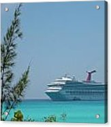 Cruise Ship At Half Moon Caye Acrylic Print