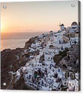 Cruise Ship At Sunset In The Mediterranean Sea Santorini Greece Acrylic Print