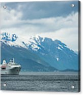 Cruise Ship In The Sognefjord In Norway Acrylic Print