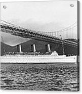 Cruise Ship Under Sf Bridge Acrylic Print