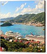 Cruise Ships In St. Thomas Usvi Acrylic Print