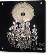 Crystal Chandelier - Paris Black And White Chandelier - Sparkling Elegant Chandelier Opulence Acrylic Print