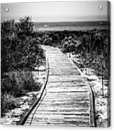 Crystal Cove Wooden Walkway In Black And White Acrylic Print