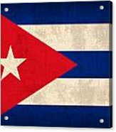Cuba Flag Vintage Distressed Finish Acrylic Print