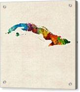 Cuba Watercolor Map Acrylic Print