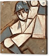 Cubism La Dodgers Baserunner Painting Acrylic Print by Tommervik