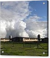 Cumulas Clouds Form Over Chicken Coops In Stockton Acrylic Print
