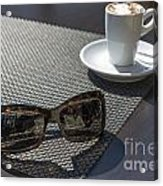 Cup Of Coffee And Sunglasses Acrylic Print