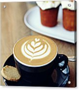 Cup Of Coffee With Leaf Pattern On Acrylic Print