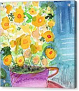 Cup Of Yellow Flowers- Abstract Floral Painting Acrylic Print