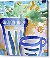 Cups And Flowers-  Watercolor Floral Painting Acrylic Print
