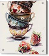 Cups And Strawberries Acrylic Print