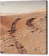 Curiosity Tracks Under The Sun In Mars Acrylic Print