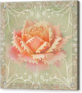 Curlyicue Peach Rose With Flourshis   Square Acrylic Print