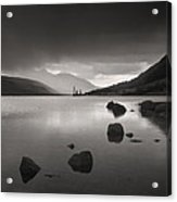 Curve Of Rocks In Monochrome At Loch Etive Acrylic Print