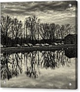 Cushwa Basin C And O Canal Black And White Acrylic Print