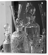 Cut Glass Crystal Decanters In Black And White 2 Acrylic Print