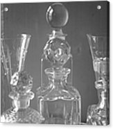 Cut Glass Decanters In Black And White Acrylic Print