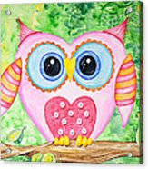 Cute As A Button Owl Acrylic Print