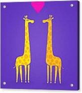 Cute Cartoon Giraffe Couple In Love Purple Edition Acrylic Print
