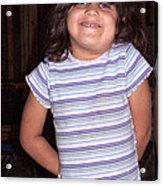 Cute Girl In Purple Blouse Acrylic Print