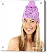Cute Girl Wearing Pink Winter Hat Acrylic Print