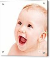 Cute Happy Baby Laughing On White Acrylic Print