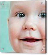 Cute Happy Baby Smiling In A Bathroom Acrylic Print