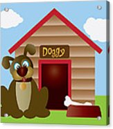 Cute Puppy Dog With Dog House Illustration Acrylic Print