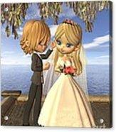 Cute Toon Wedding Couple On A Seaside Balcony Acrylic Print
