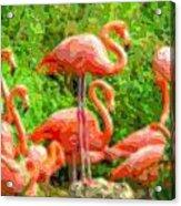 Cutout Layer Art Animal Portrait Flamingo Acrylic Print