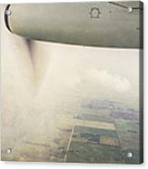 Cutting Through The Fog With Turboprop Over Alberta Acrylic Print