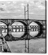 Cv - Susquehanna River Bridge Harrisburg  Pennsylvania In Black  Acrylic Print