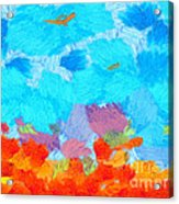 Cyan Landscape Acrylic Print by Pixel Chimp
